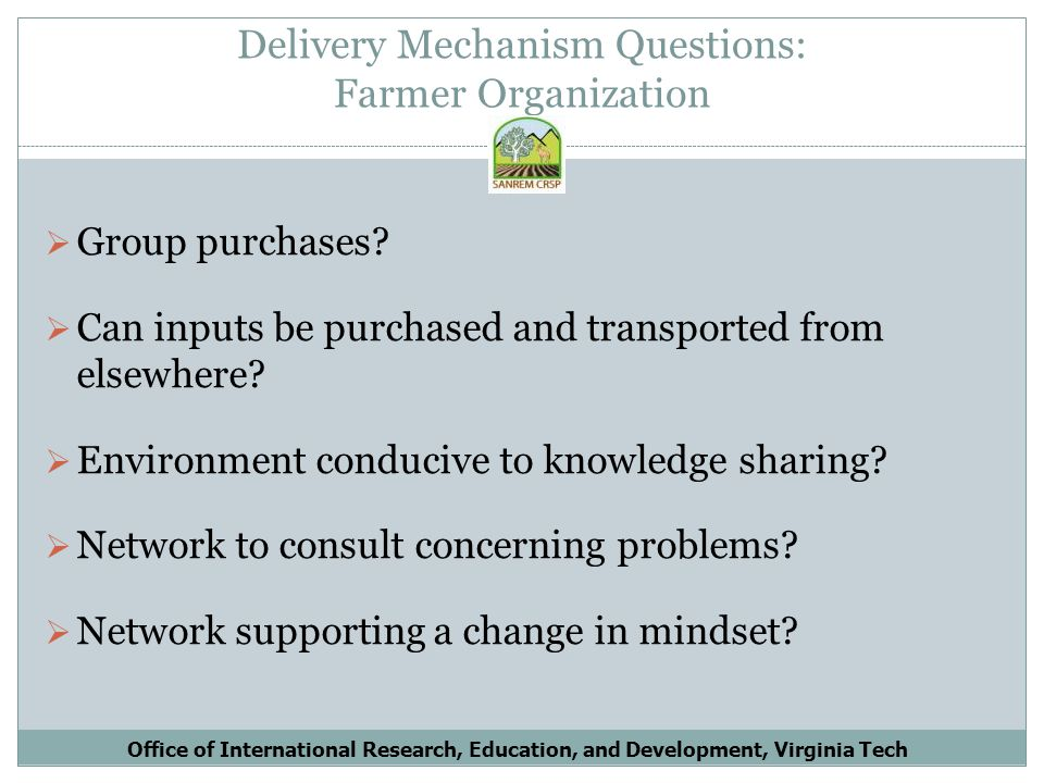 Delivery Mechanism Questions: Farmer Organization Group purchases.