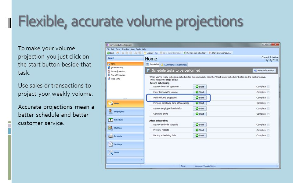 Two ways to project your volume Our powerful volume projection options let you customize the projection to your exact needs.