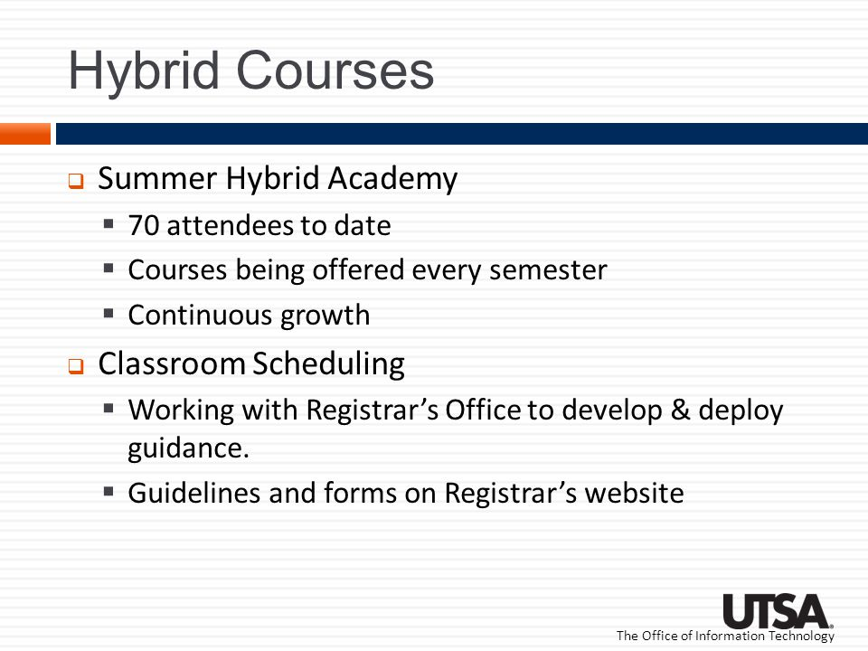 The Office of Information Technology Hybrid Courses Summer Hybrid Academy 70 attendees to date Courses being offered every semester Continuous growth Classroom Scheduling Working with Registrars Office to develop & deploy guidance.
