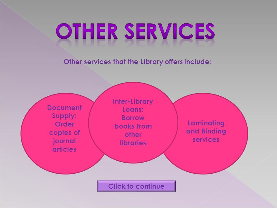 Other services that the Library offers include: Document Supply: Order copies of journal articles Inter-Library Loans: Borrow books from other libraries Laminating and Binding services Click to continue