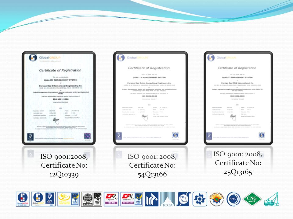 ISO 9001:2008, Certificate No: 12Q10339 ISO 9001: 2008, Certificate No: 54Q13166 ISO 9001: 2008, Certificate No: 25Q13165
