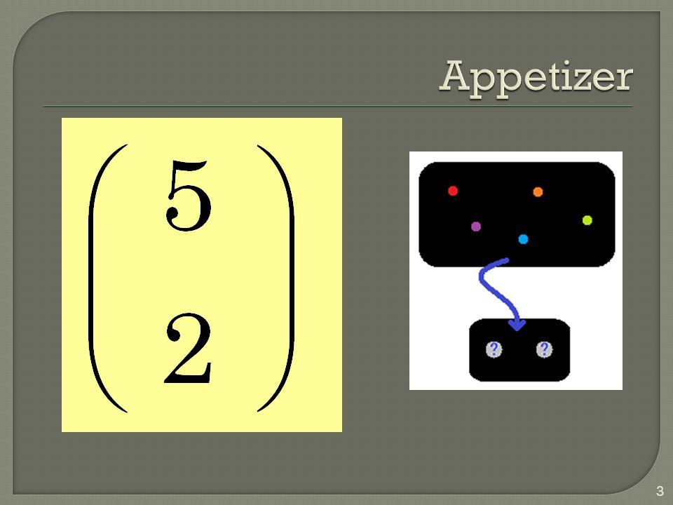 ordering DistinguishedIndistinguished replacement with with at least 1 **|*|*|** without at least 1 ||**|****| without 14 The Grouping Problem Permutation Multiplication Principle Combination