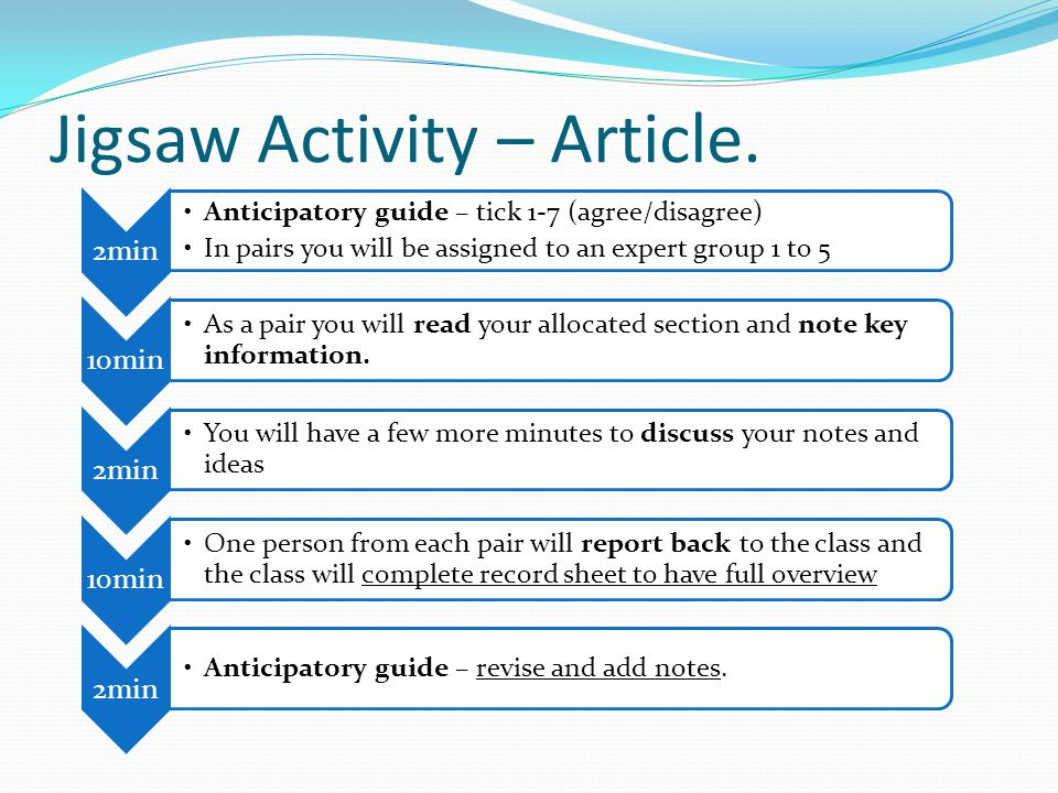 Jigsaw Activity – Article. 2min Anticipatory guide – tick 1-7 (agree/disagree) In pairs you will be assigned to an expert group 1 to 5 10min As a pair