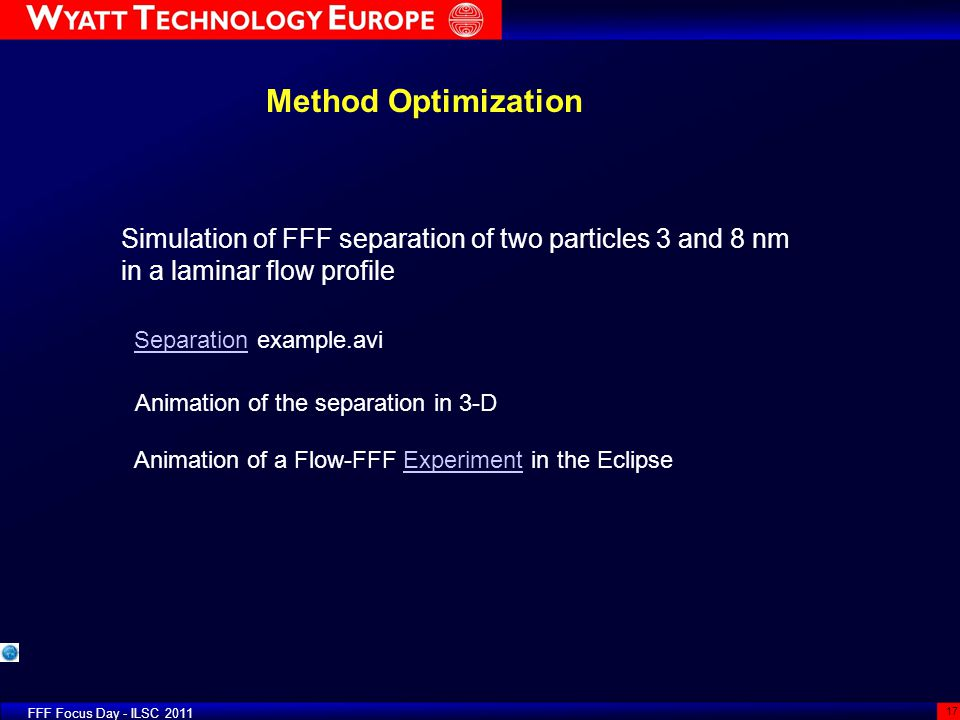 Method Optimization FFF Focus Day - ILSC 2011 17 Simulation of FFF separation of two particles 3 and 8 nm in a laminar flow profile SeparationSeparati