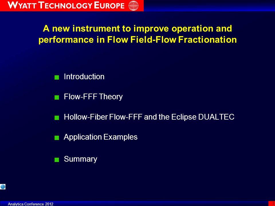 Example F CR (ml/min) u CR (10 5 m/s) F OUT (ml/min) TREQ (min) DILFPeak Width (min) SC 350 µm32.344.71.8114200.28 LC 250 µm4.52.342.81.818950.31 FFF Focus Day - ILSC 2011 23 Sample BSA monomer and dimer, 30 µg injected
