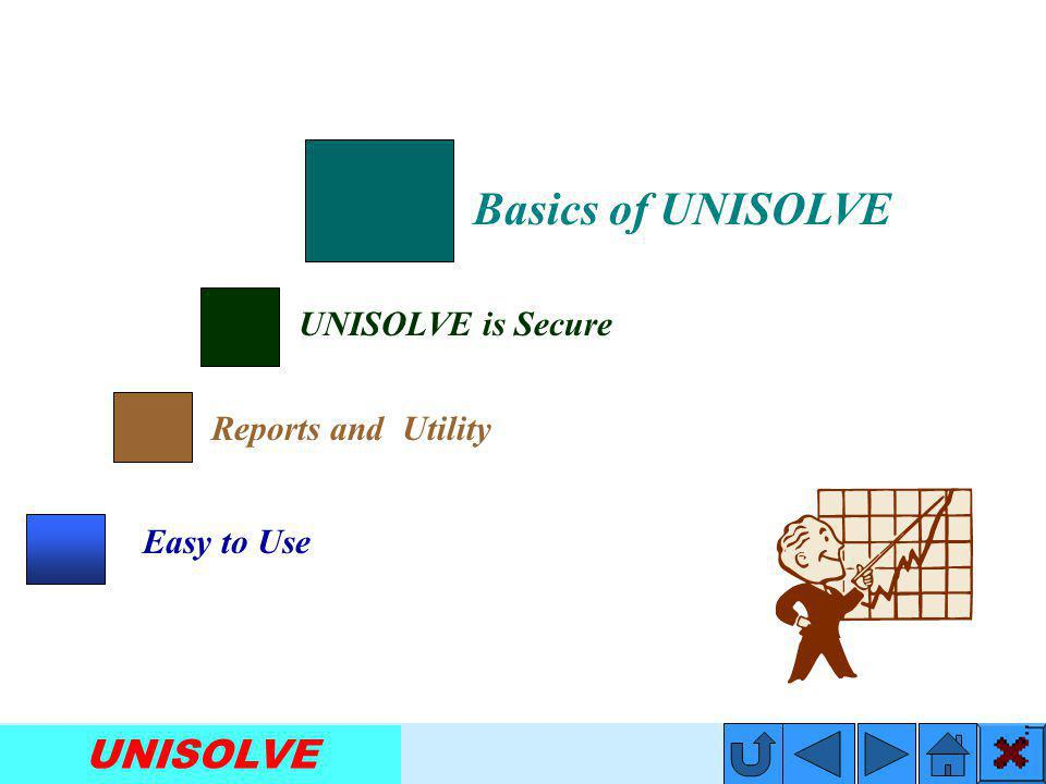 UNISOLVE UNISOLVE is Secure Basics of UNISOLVE Reports and Utility Easy to Use