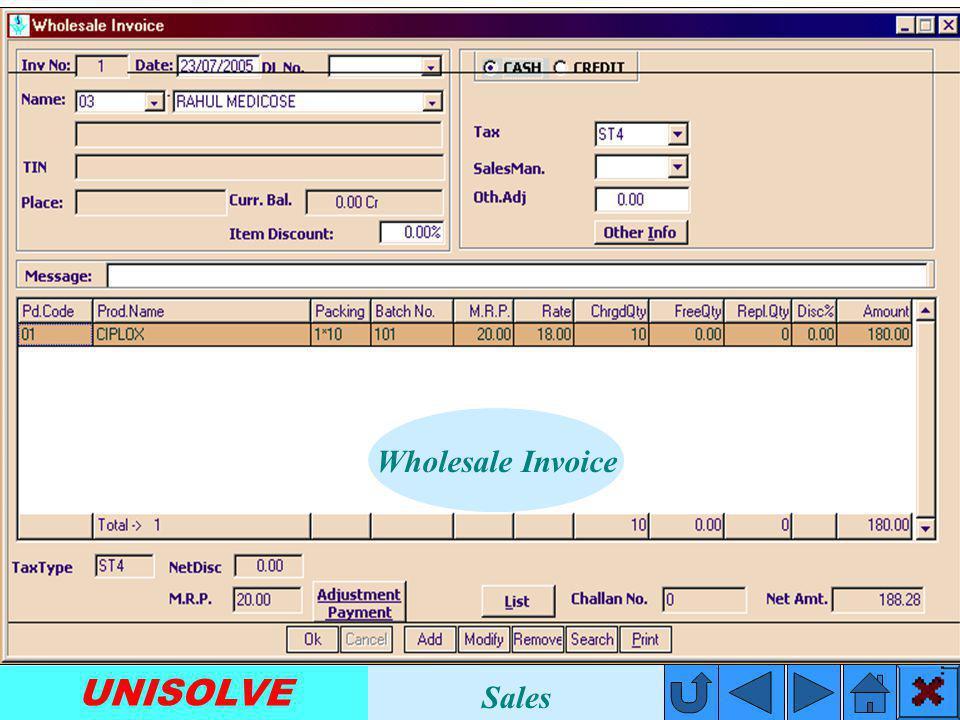 UNISOLVE Financial Management Inventory Management Outstanding Management Purchase Management Sales Management