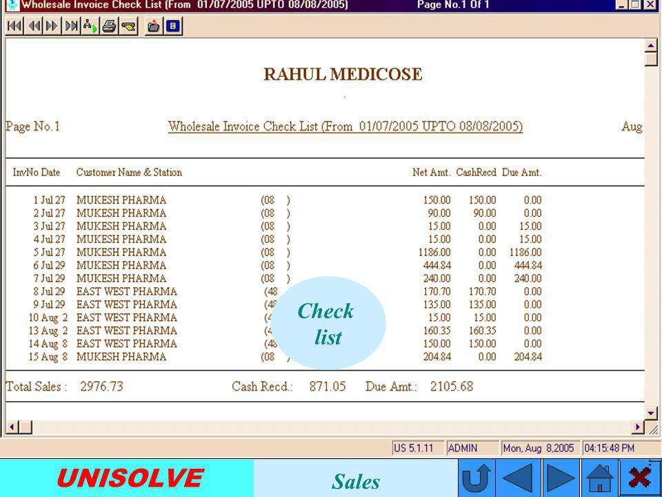 UNISOLVE Invoice Summery Sales