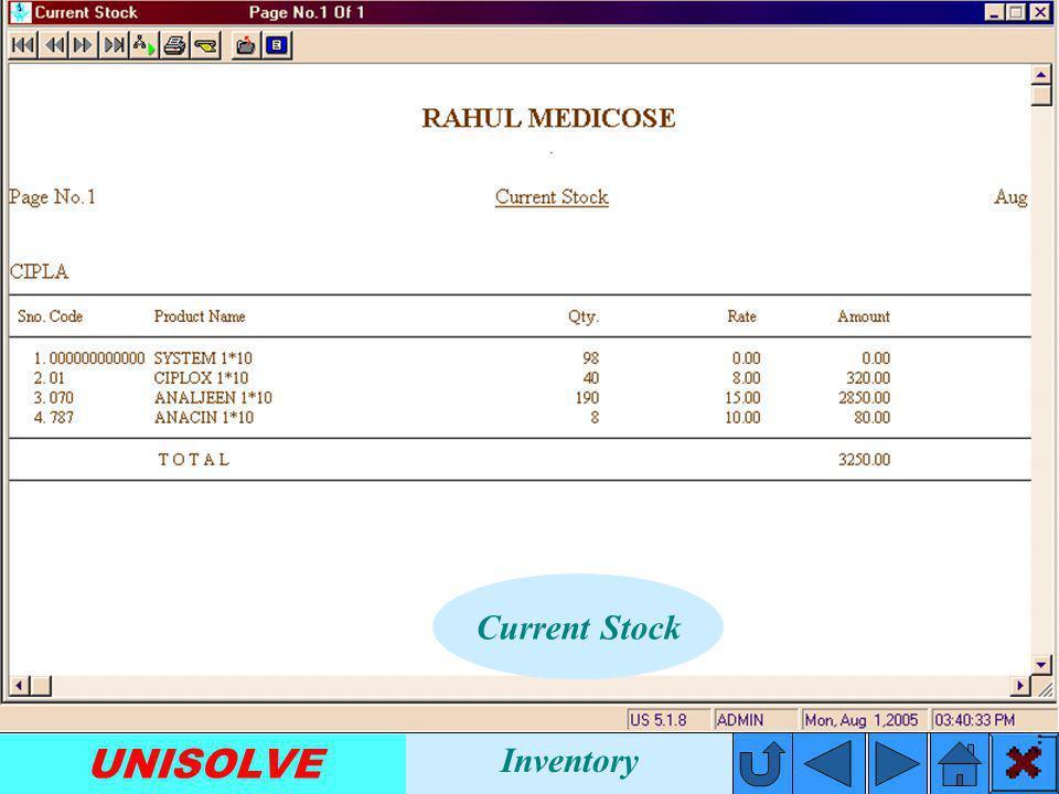 UNISOLVE Stock Entry Inventory