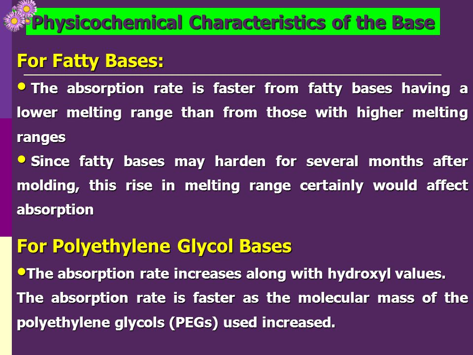 Physicochemical Characteristics of the Base For Fatty Bases: The absorption rate is faster from fatty bases having a lower melting range than from tho