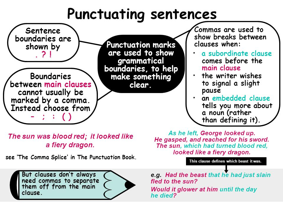 Punctuating sentences Punctuation marks are used to show grammatical boundaries, to help make something clear.