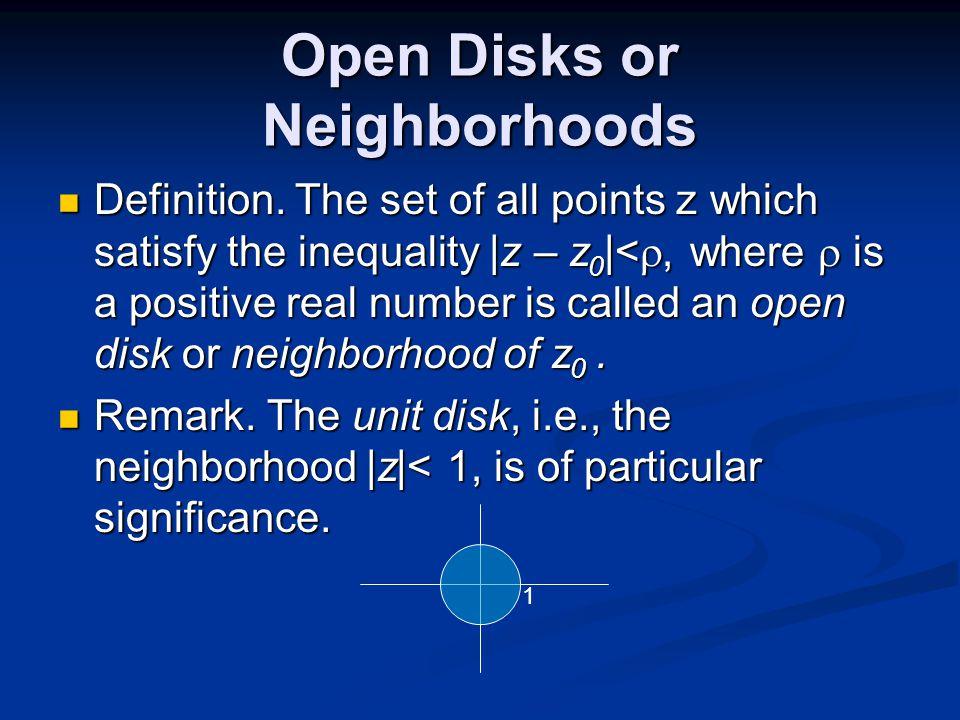 Open Disks or Neighborhoods Definition.