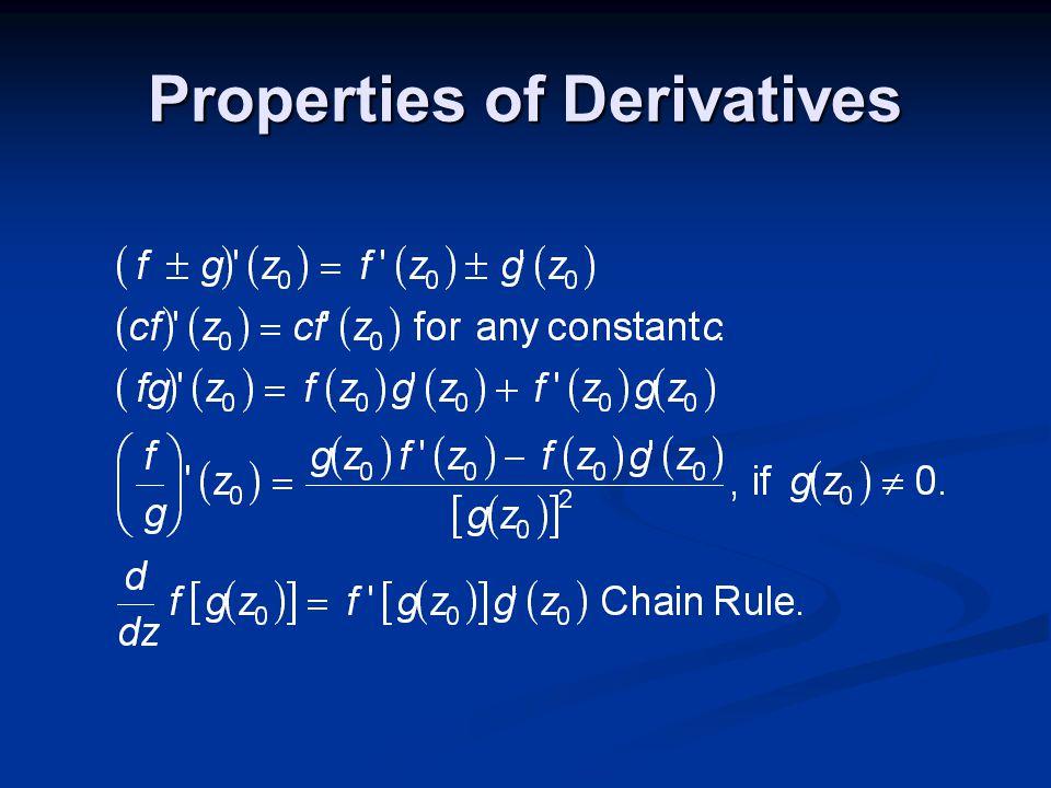 Properties of Derivatives
