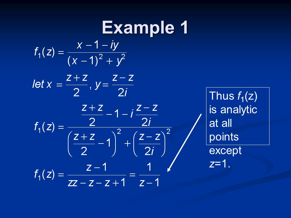 Example 1 Thus f 1 (z) is analytic at all points except z=1.
