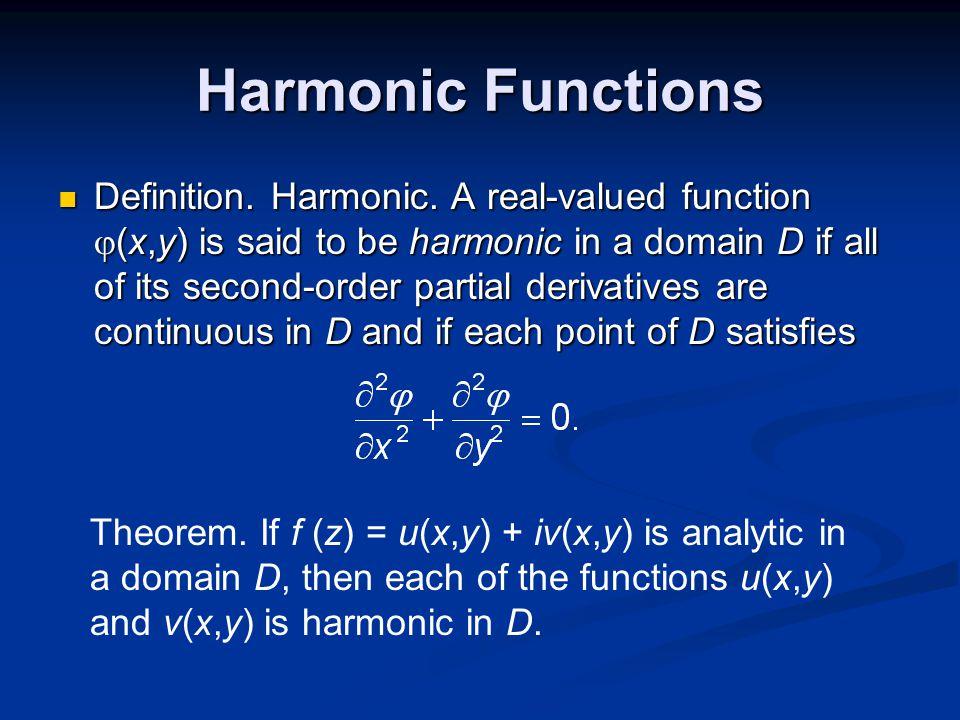 Harmonic Functions Definition. Harmonic.