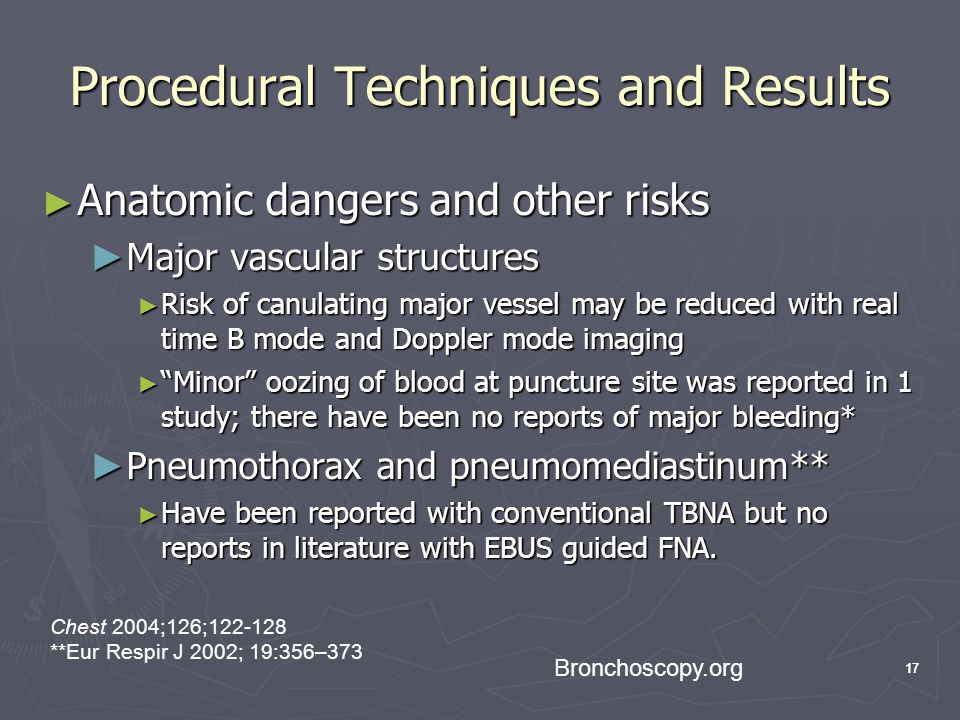 17 Procedural Techniques and Results Anatomic dangers and other risks Anatomic dangers and other risks Major vascular structures Major vascular struct
