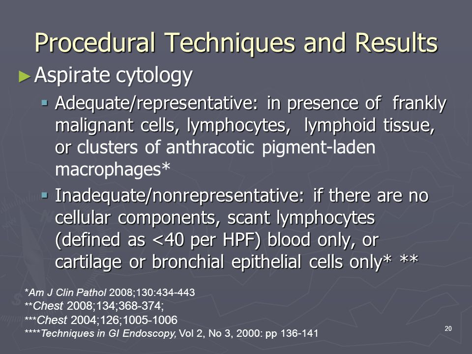 20 Procedural Techniques and Results Aspirate cytology Aspirate cytology Adequate/representative: in presence of frankly malignant cells, lymphocytes,