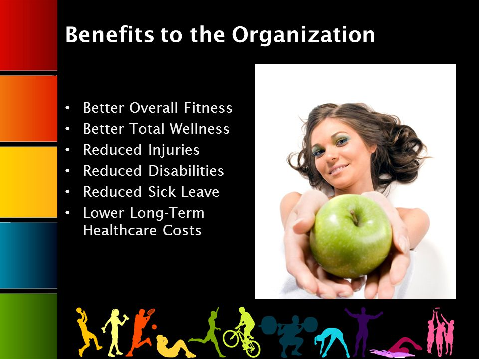 Benefits to the Organization Better Overall Fitness Better Total Wellness Reduced Injuries Reduced Disabilities Reduced Sick Leave Lower Long-Term Healthcare Costs