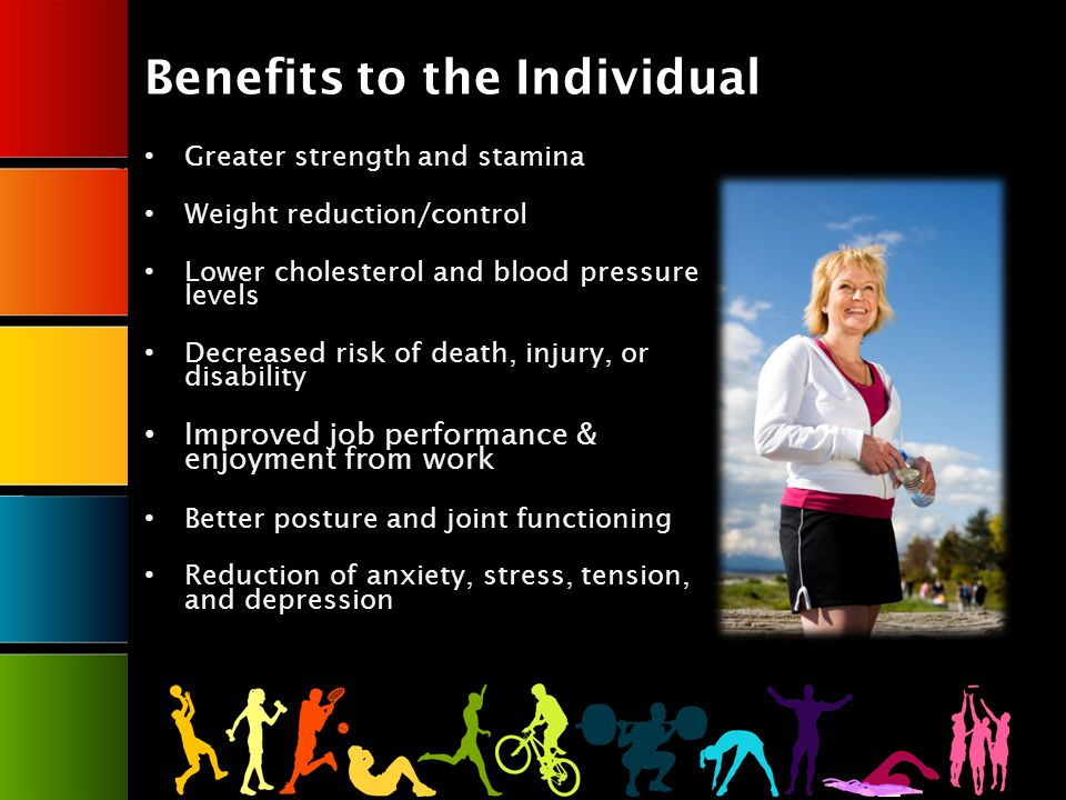 Benefits to the Individual Greater strength and stamina Weight reduction/control Lower cholesterol and blood pressure levels Decreased risk of death, injury, or disability Improved job performance & enjoyment from work Better posture and joint functioning Reduction of anxiety, stress, tension, and depression