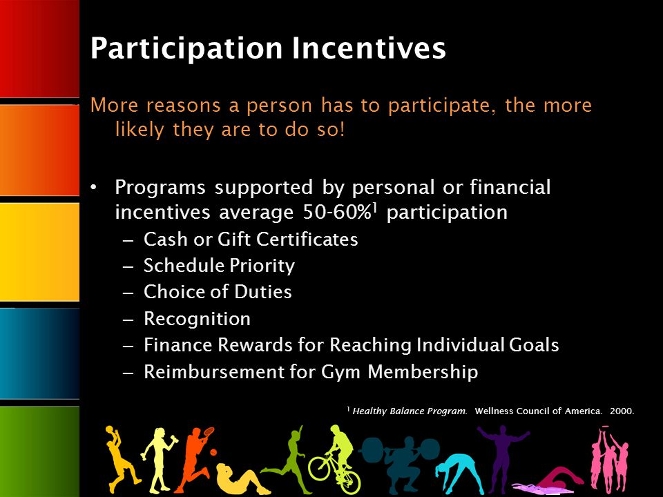 Participation Incentives More reasons a person has to participate, the more likely they are to do so.