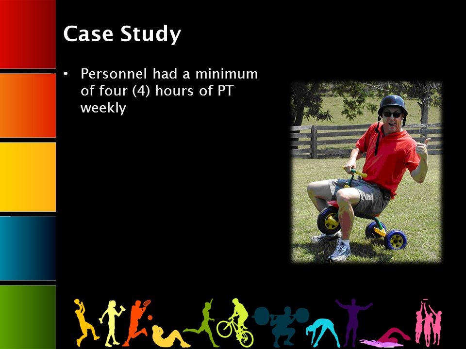 Case Study Personnel had a minimum of four (4) hours of PT weekly