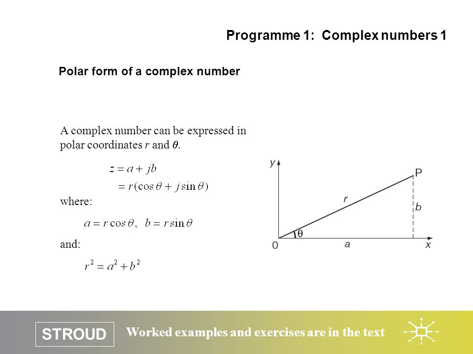 STROUD Worked examples and exercises are in the text Polar form of a complex number Programme 1: Complex numbers 1 A complex number can be expressed i