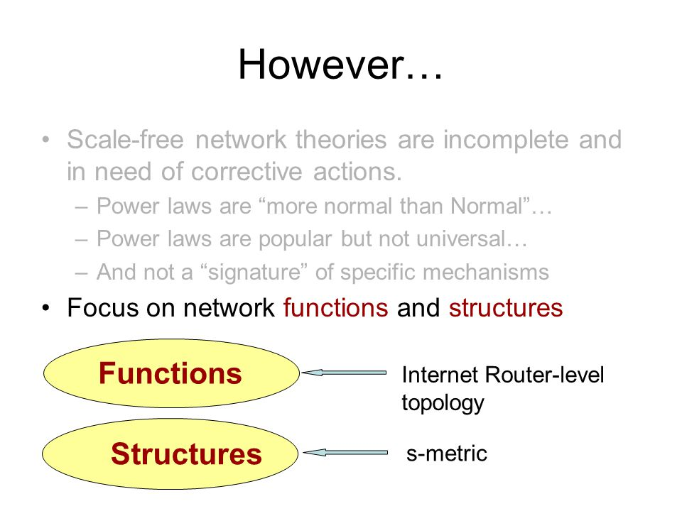 However… Scale-free network theories are incomplete and in need of corrective actions.