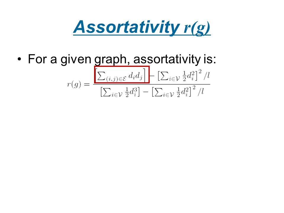 Assortativity r(g) For a given graph, assortativity is: