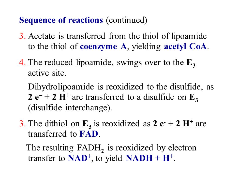 Sequence of reactions (continued) 3.Acetate is transferred from the thiol of lipoamide to the thiol of coenzyme A, yielding acetyl CoA. 4.The reduced