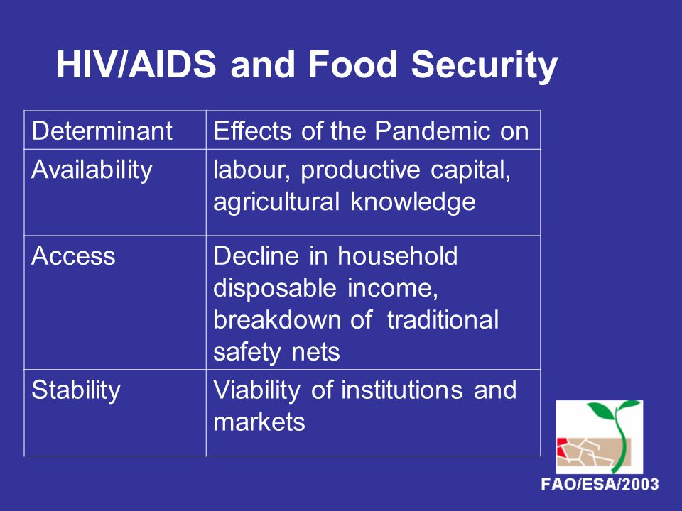 HIV/AIDS and Food Security DeterminantEffects of the Pandemic on Availabilitylabour, productive capital, agricultural knowledge AccessDecline in household disposable income, breakdown of traditional safety nets StabilityViability of institutions and markets