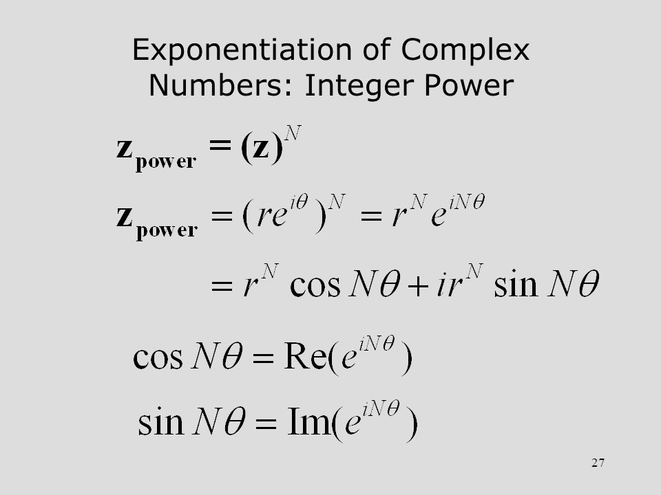 27 Exponentiation of Complex Numbers: Integer Power