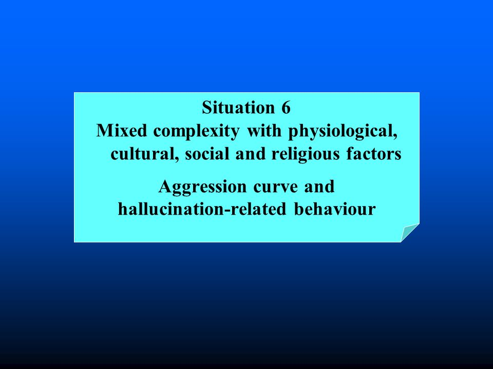 Situation 6 Mixed complexity with physiological, cultural, social and religious factors Aggression curve and hallucination-related behaviour
