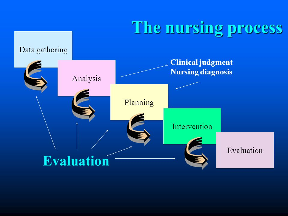 The nursing process The nursing process Data gathering Analysis Planning Intervention Evaluation Clinical judgment Nursing diagnosis