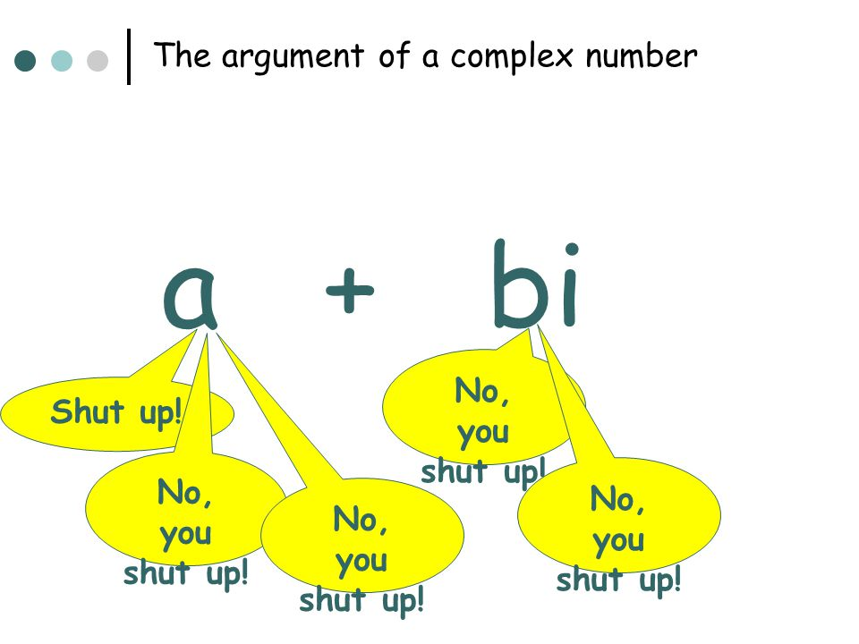 The argument of a complex number a+bi Shut up! No, you shut up!