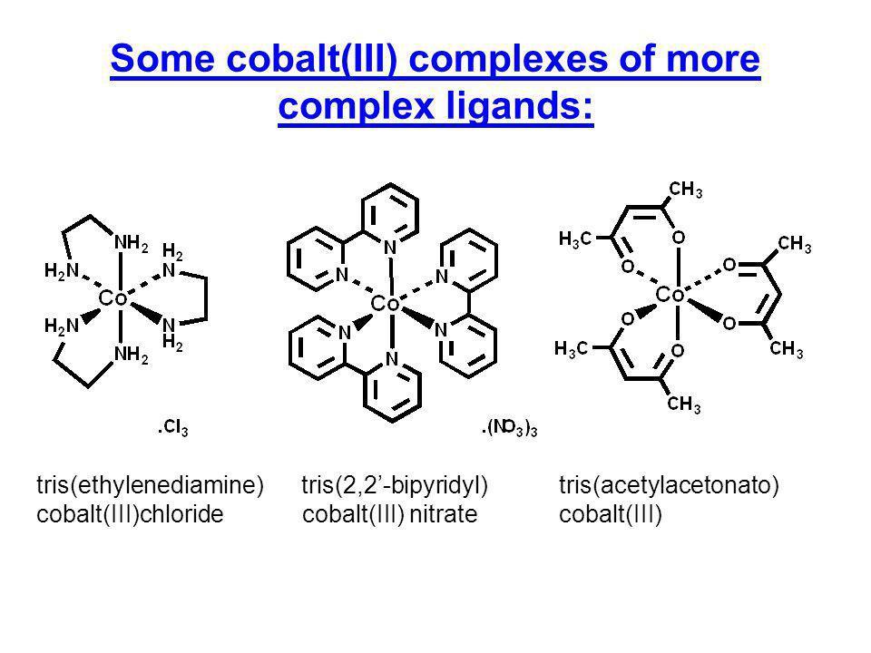 Some cobalt(III) complexes of more complex ligands: tris(ethylenediamine) tris(2,2-bipyridyl)tris(acetylacetonato) cobalt(III)chloride cobalt(III) nit