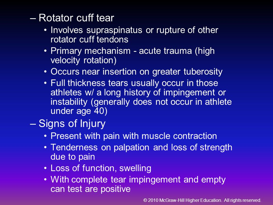 © 2010 McGraw-Hill Higher Education. All rights reserved. –Rotator cuff tear Involves supraspinatus or rupture of other rotator cuff tendons Primary m