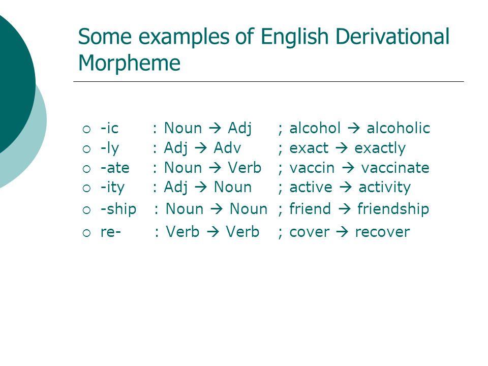 Some examples of English Derivational Morpheme -ic : Noun Adj; alcohol alcoholic -ly : Adj Adv; exact exactly -ate : Noun Verb; vaccin vaccinate -ity