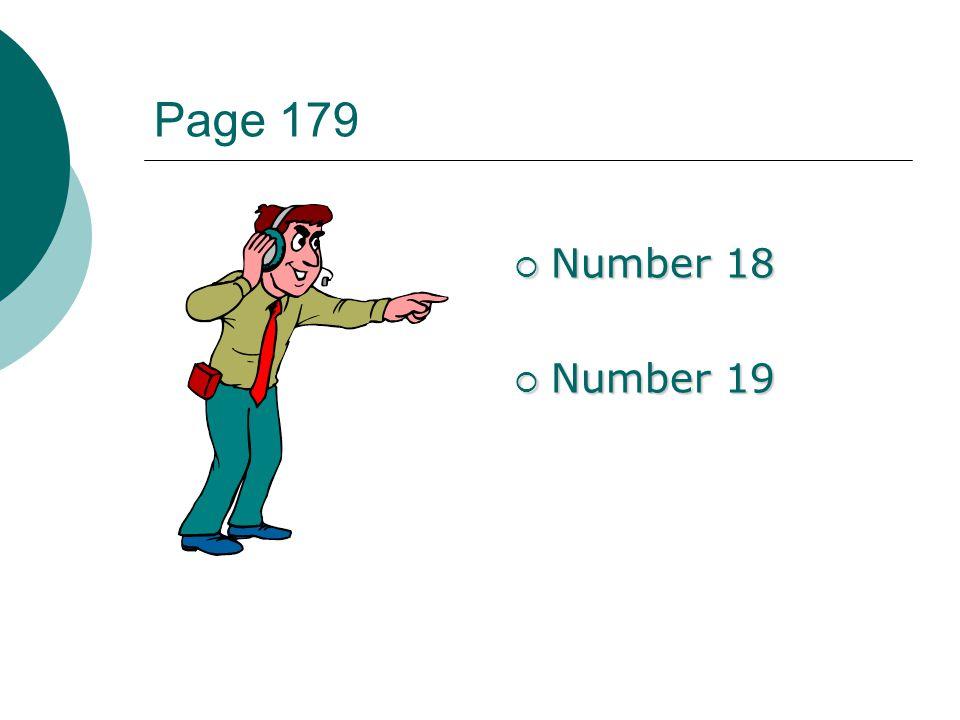 Page 179 Number 18 Number 18 Number 19 Number 19