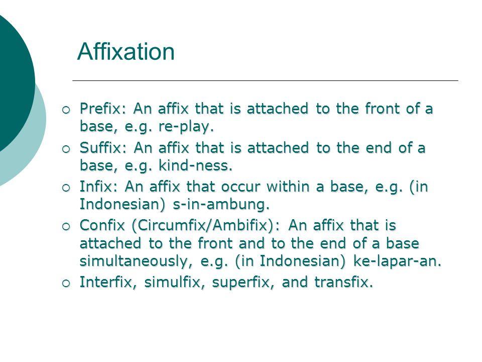 Affixation Prefix: An affix that is attached to the front of a base, e.g. re-play. Prefix: An affix that is attached to the front of a base, e.g. re-p