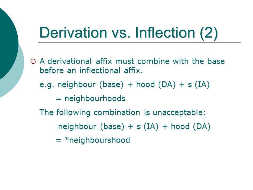 Derivation vs. Inflection (2) A derivational affix must combine with the base before an inflectional affix. e.g. neighbour (base) + hood (DA) + s (IA)