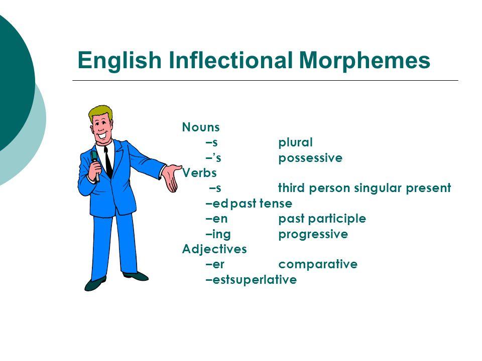 English Inflectional Morphemes Nouns –s plural –s possessive Verbs –s third person singular present –edpast tense –en past participle –ingprogressive