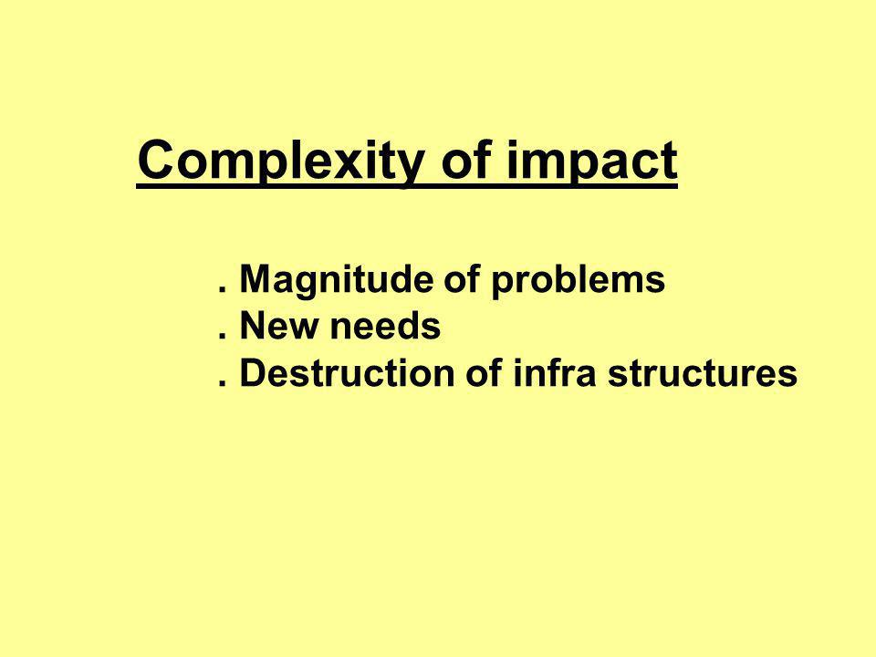 Complexity of impact. Magnitude of problems. New needs. Destruction of infra structures