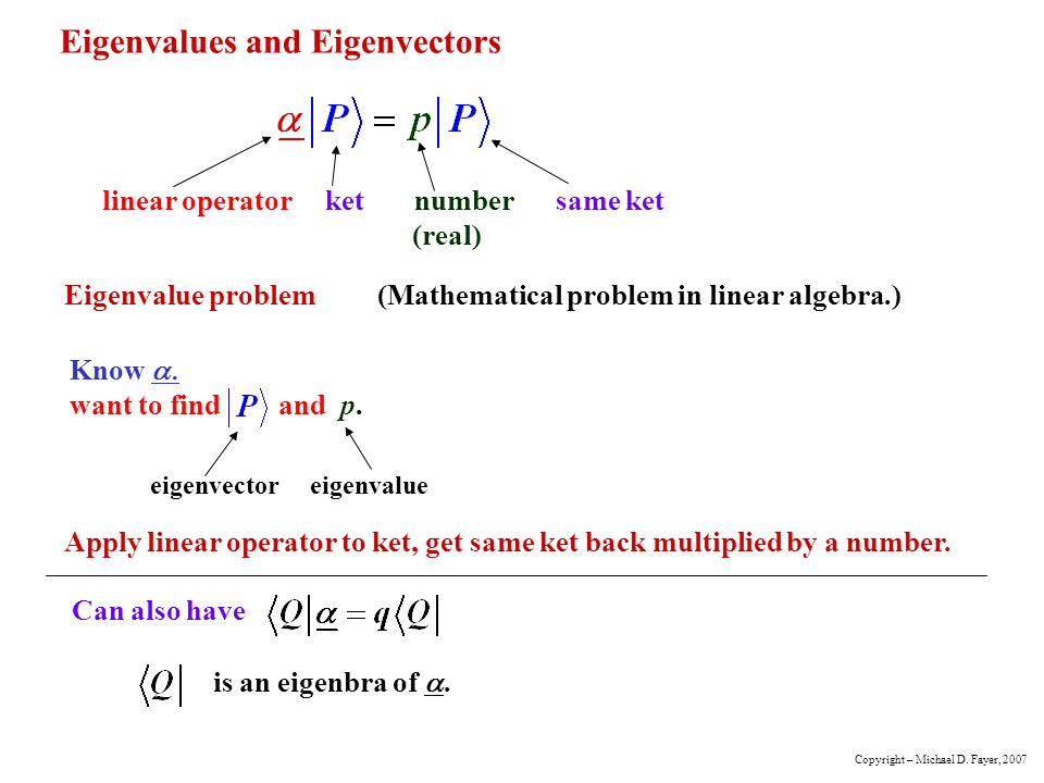 Eigenvalues and Eigenvectors linear operator ket number same ket (real) Eigenvalue problem(Mathematical problem in linear algebra.) Know want to find