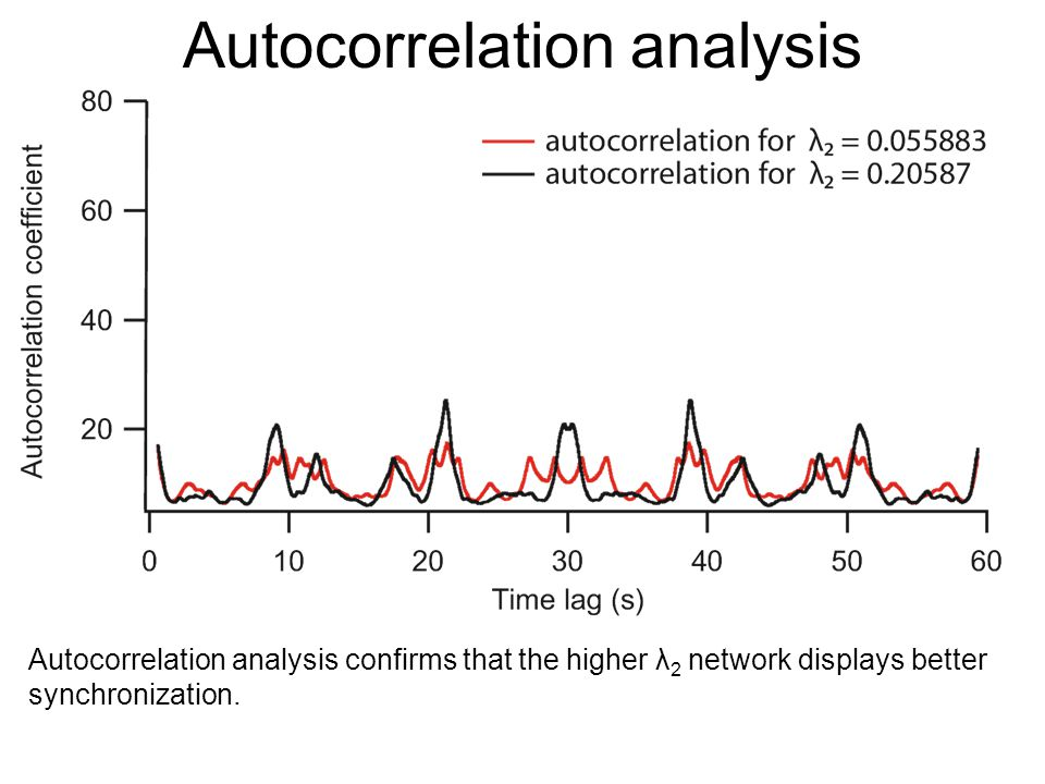 Autocorrelation analysis Autocorrelation analysis confirms that the higher λ 2 network displays better synchronization.