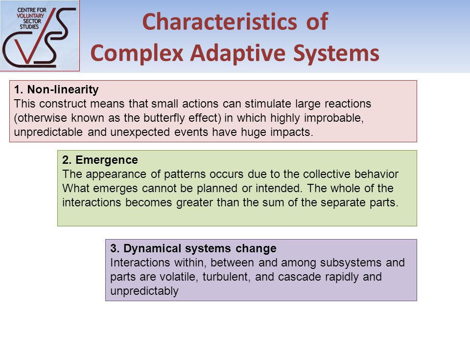 Characteristics of Complex Adaptive Systems 1.
