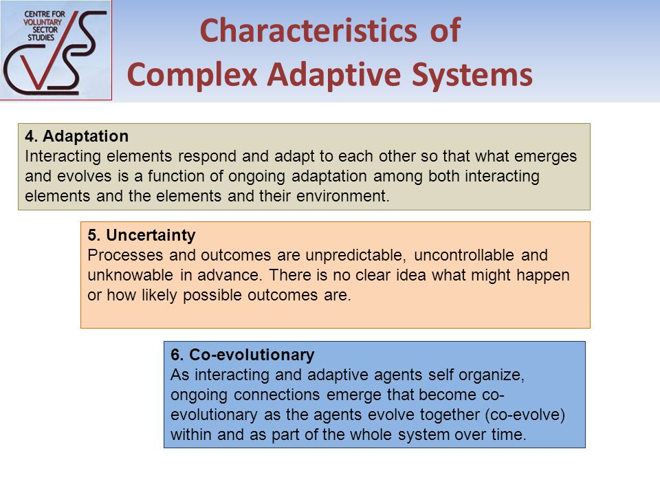 Characteristics of Complex Adaptive Systems 6.