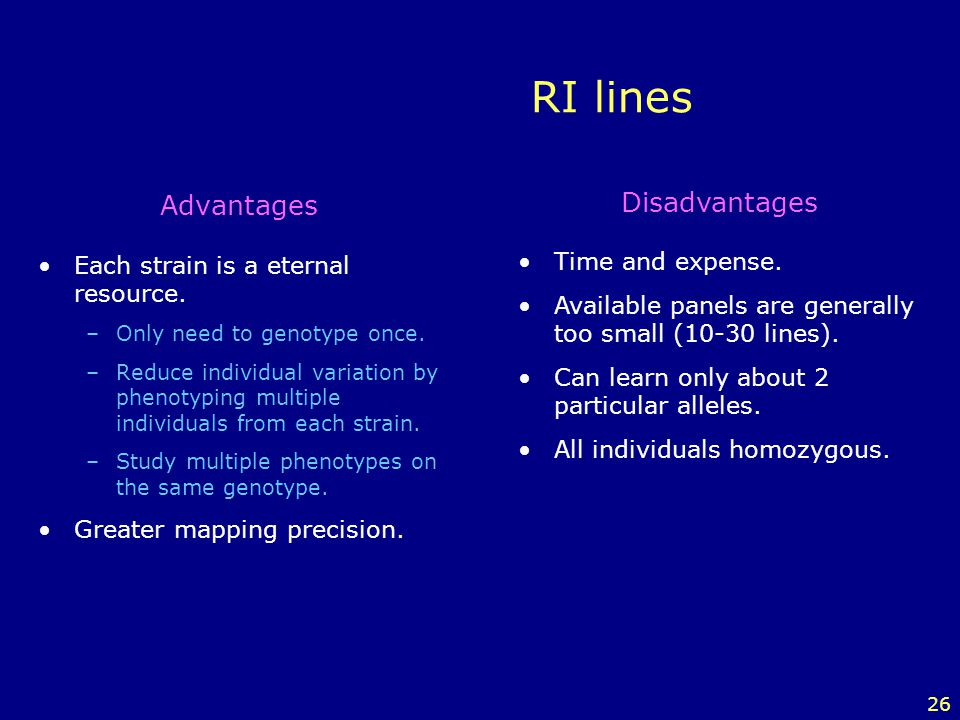 26 RI lines Advantages Each strain is a eternal resource. –Only need to genotype once. –Reduce individual variation by phenotyping multiple individual