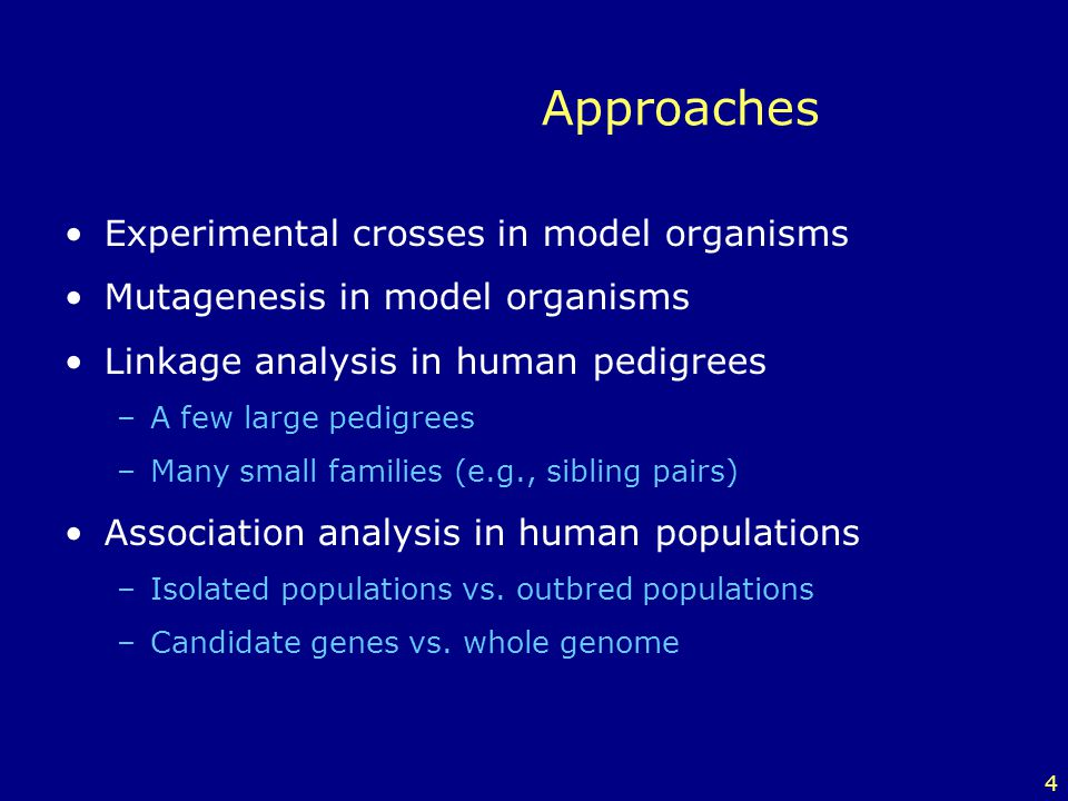 4 Approaches Experimental crosses in model organisms Mutagenesis in model organisms Linkage analysis in human pedigrees –A few large pedigrees –Many s