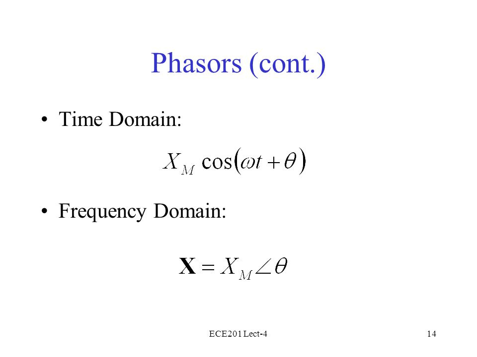 ECE201 Lect-414 Phasors (cont.) Time Domain: Frequency Domain: