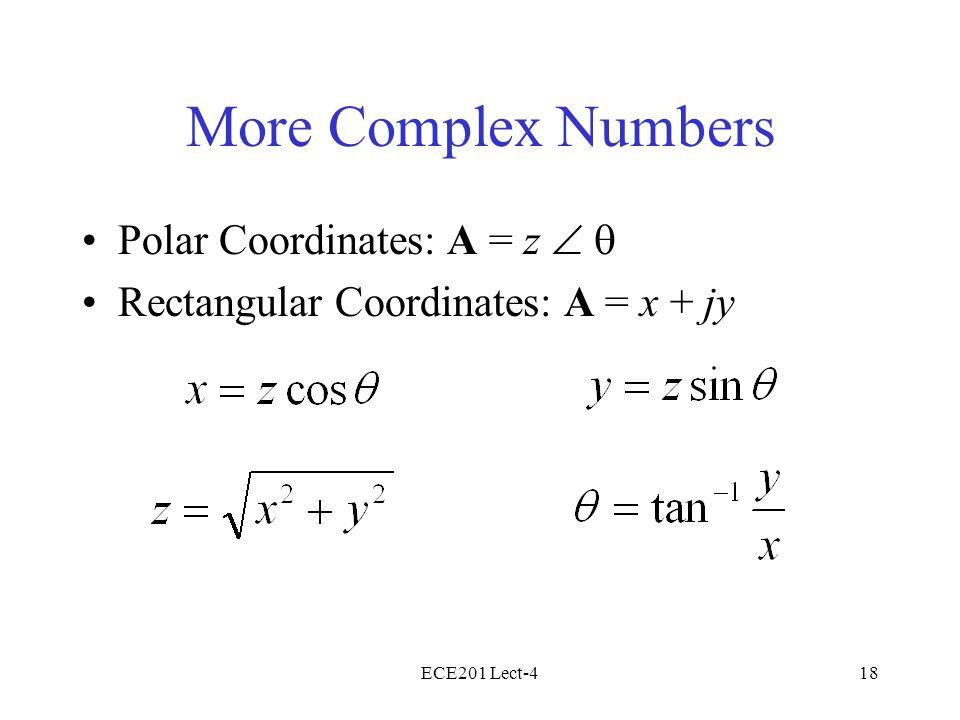 ECE201 Lect-418 More Complex Numbers Polar Coordinates: A = z Rectangular Coordinates: A = x + jy